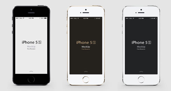 001 iphone 5s mobile celular mock up 3 colors gold psd 1